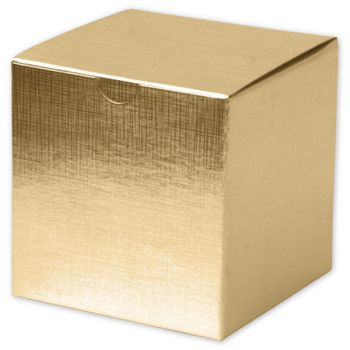 Gold Linen Foil One-Piece Gift Boxes, 4 x 4 x 4