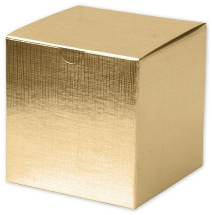 Gold Linen Foil One-Piece Gift Boxes, 4 x 4 x 4""