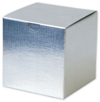 Silver Linen Foil One-Piece Gift Boxes, 4 x 4 x 4""