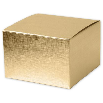 Gold Linen Foil One-Piece Gift Boxes, 6 x 6 x 4""