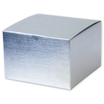 Silver Linen Foil One-Piece Gift Boxes, 6 x 6 x 4
