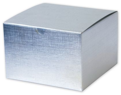Silver Linen Foil One-Piece Gift Boxes, 6 x 6 x 4""