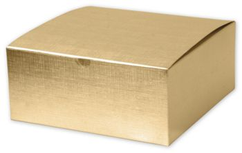 Gold Linen Foil One-Piece Gift Boxes, 8 x 8 x 3 1/2