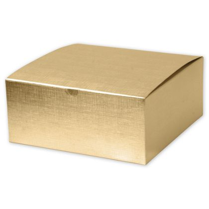 Gold Linen Foil One-Piece Gift Boxes, 8 x 8 x 3 1/2""