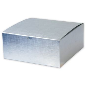 Silver Linen Foil One-Piece Gift Boxes, 8 x 8 x 3 1/2