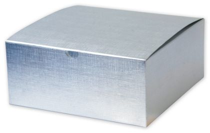 """Silver Linen Foil One-Piece Gift Boxes, 8 x 8 x 3 1/2"""""""