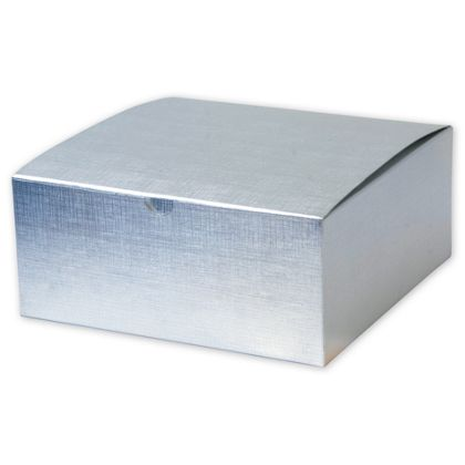 Silver Linen Foil One-Piece Gift Boxes, 8 x 8 x 3 1/2""