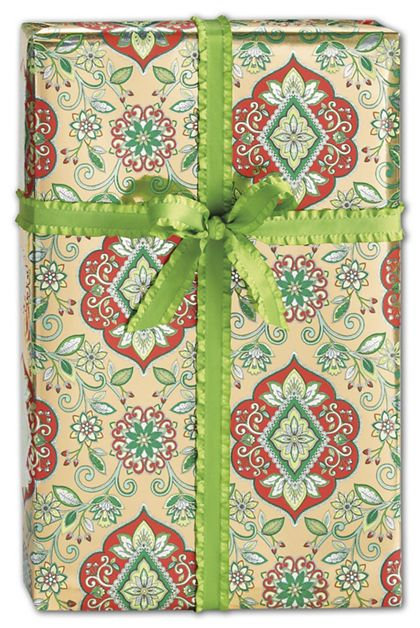 "Christmas Tapestry Gift Wrap, 30"" x 208'"