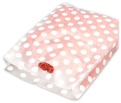 White Dots Frosted Merchandise Bags, 14 x 3 x 21""