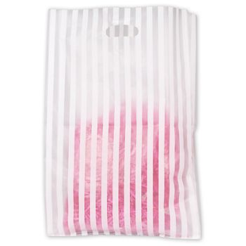 White Stripe Frosted Merchandise Bags, 14 x 3 x 21