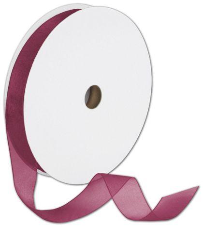 "Sheer Organdy Burgundy Ribbon, 7/8"" x 100 Yds"