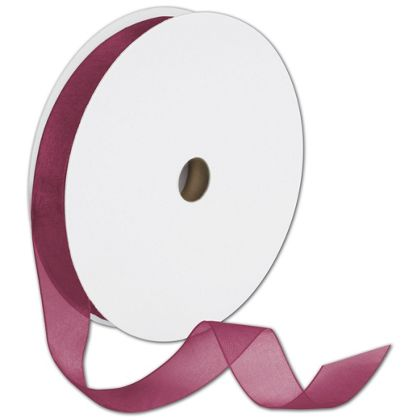 "Sheer Organdy Burgundy Ribbon, 7/8"" x 100 Yds"