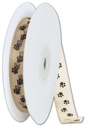 Sheer Chocolate Paws on Tan Ribbon, 5/8