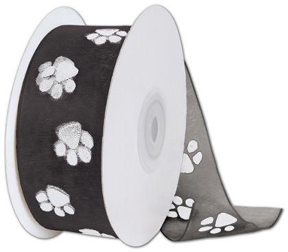 "Sheer White Paws on Black Ribbon, 1 1/2"" x 25 Yds"