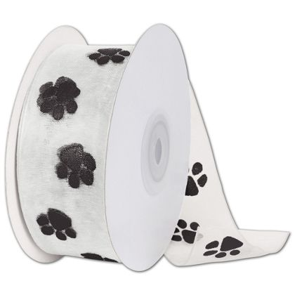 "Sheer Black Paws on White Ribbon, 1 1/2"" x 25 Yds"