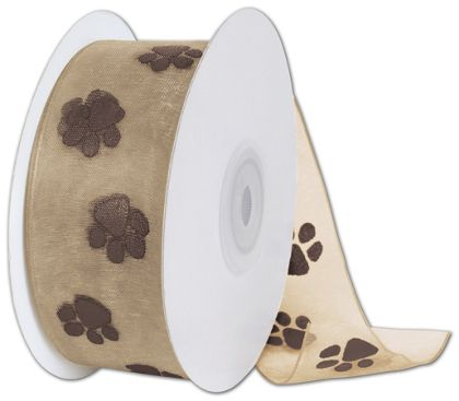 "Sheer Chocolate Paws on Tan Ribbon, 1 1/2"" x 25 Yds"