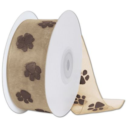 "Sheer Chocolate Paws on Tan Ribbon, 1 1/2"" x 25 Yds"