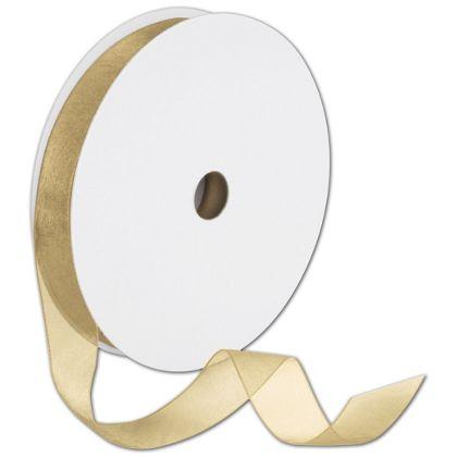 "Sheer Organdy Gold Ribbon, 7/8"" x 100 Yds"