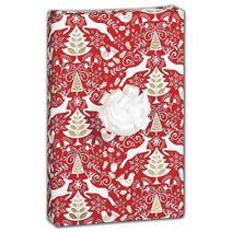 "Red Scandinavian Gift Wrap, 30"" x 417'"
