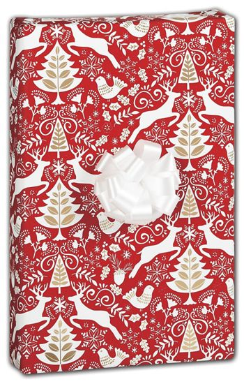 Red Scandinavian Gift Wrap, 30