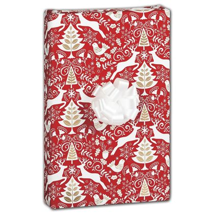 "Red Scandinavian Gift Wrap, 30"" x 417'"