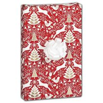 "Red Scandinavian Gift Wrap, 30"" x 208'"