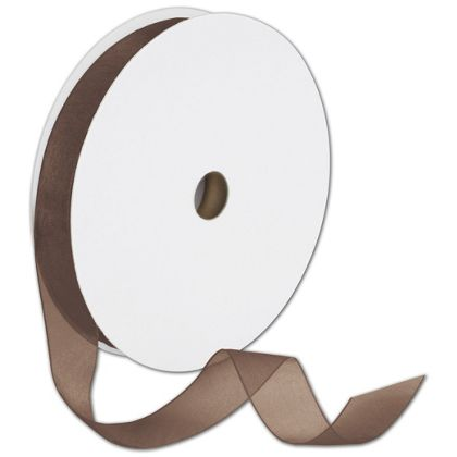 "Sheer Organdy Chocolate Ribbon, 7/8"" x 100 Yds"