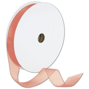 Sheer Organdy Coral Ribbon, 7/8