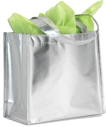 Center Stage Silver Metallic Non-Woven Totes
