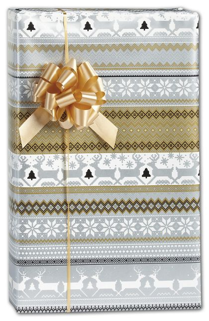 "Sweater Print in Silver & Gold Gift Wrap, 30"" x 208'"