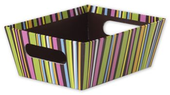 Chocolate Stripes Market Trays, 9 x 7 x 3 1/2