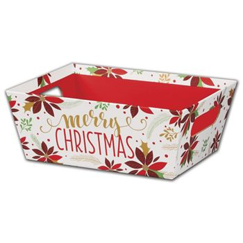 Christmas Poinsettia Market Trays, 9 x 7 x 3 1/2