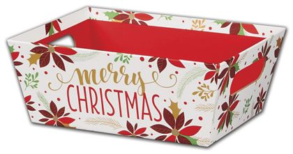 Christmas Poinsettia Market Trays, 9 x 7 x 3 1/2""