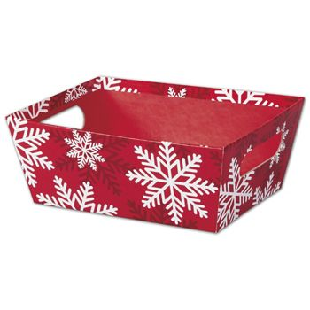 Red & White Snowflakes Market Trays, 9 x 7 x 3 1/2