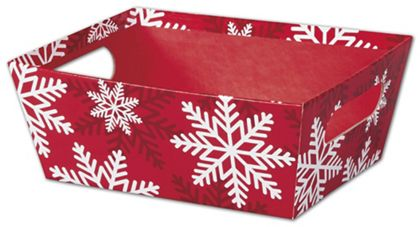 Red & White Snowflakes Market Trays, 9 x 7 x 3 1/2""