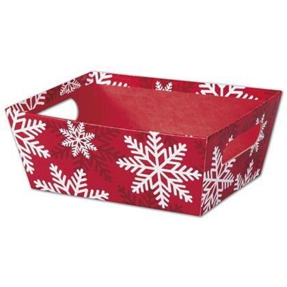 """Red & White Snowflakes Market Trays, 9 x 7 x 3 1/2"""""""