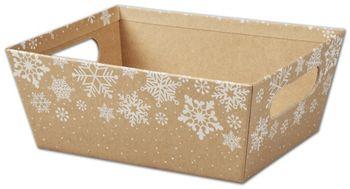 Kraft Snowflakes Market Trays, 9 x 7 x 3 1/2