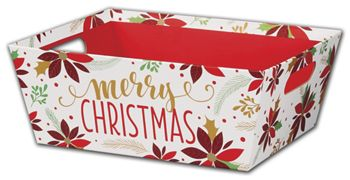 Christmas Poinsettia Market Trays, 12 x 9 1/2 x 4 1/2
