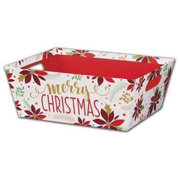 Christmas Poinsettia Market Trays, 12 x 9 1/2 x 4 1/2