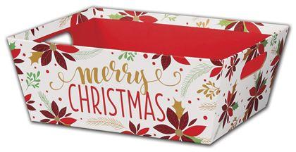 "Christmas Poinsettia Market Trays, 12 x 9 1/2 x 4 1/2"""
