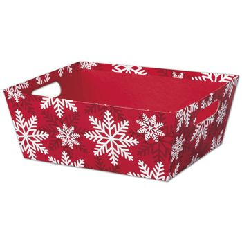 Red & White Snowflakes Market Trays, 12 x 9 1/2 x 4 1/2