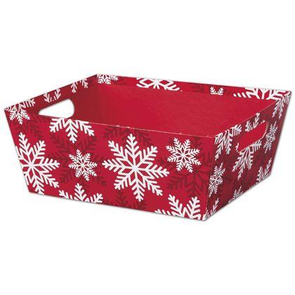 """Red & White Snowflakes Market Trays, 12 x 9 1/2 x 4 1/2"""""""