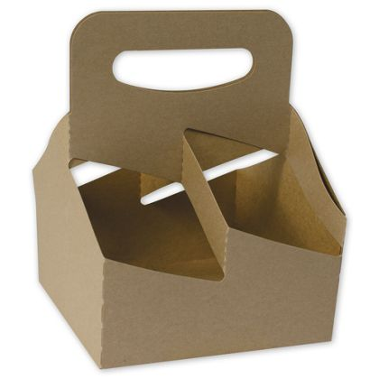 Food Service Cup Carriers, Kraft, 6 7/16 x 6 7/16 x 8 3/8""