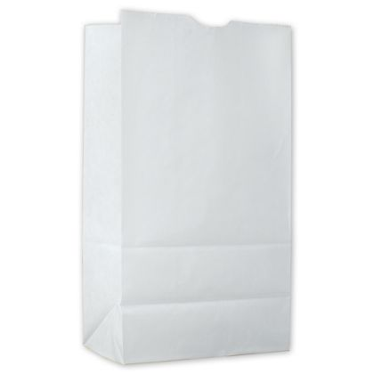 Food Service Waxed SOS Bags, White Kraft, 6x3 3/8x11 1/8