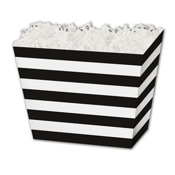 Black & White Stripes Angled Basket Boxes, 10 1/4x6x7 1/2