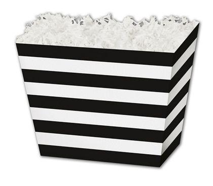 "Black & White Stripes Angled Basket Boxes, 10 1/4x6x7 1/2"""