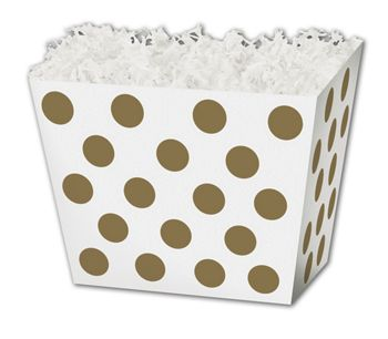 Metallic Gold Dots Angled Basket Boxes, 10 1/4x6x7 1/2
