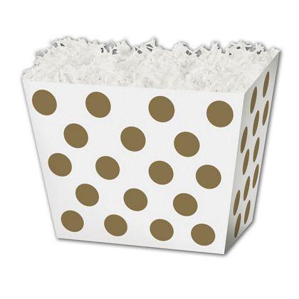 "Metallic Gold Dots Angled Basket Boxes, 10 1/4x6x7 1/2"""