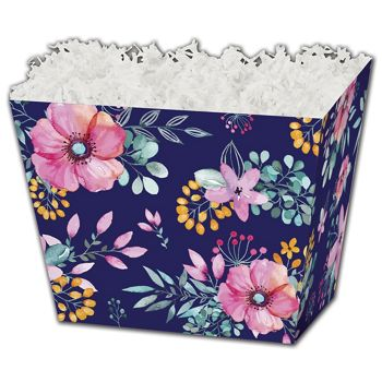 Navy Floral Angled Basket Boxes, 10 1/4 x 6 x 7 1/2
