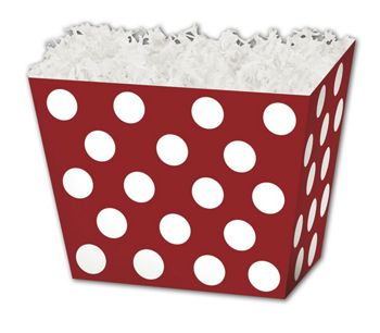 Red & White Dots Angled Basket Boxes, 10 1/4 x 6 x 7 1/2